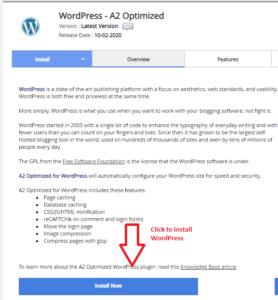 Click on Install WordPress