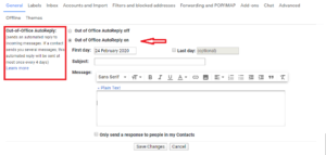 Out of office autorespond