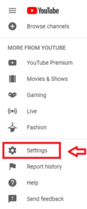 YouTube Channel settings option