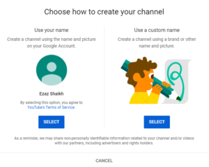 create a Youtube channel name