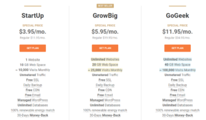 Siteground shared hosting page