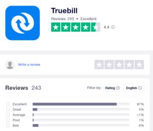 Truebill Trustpilot rating