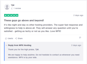 Wpx reply on customer review