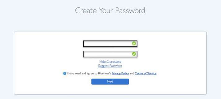 Create your New Password